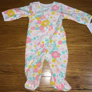 CARTERS FLEECE 3 MONTH BABY FLORAL FOOTSIE PAJAMA